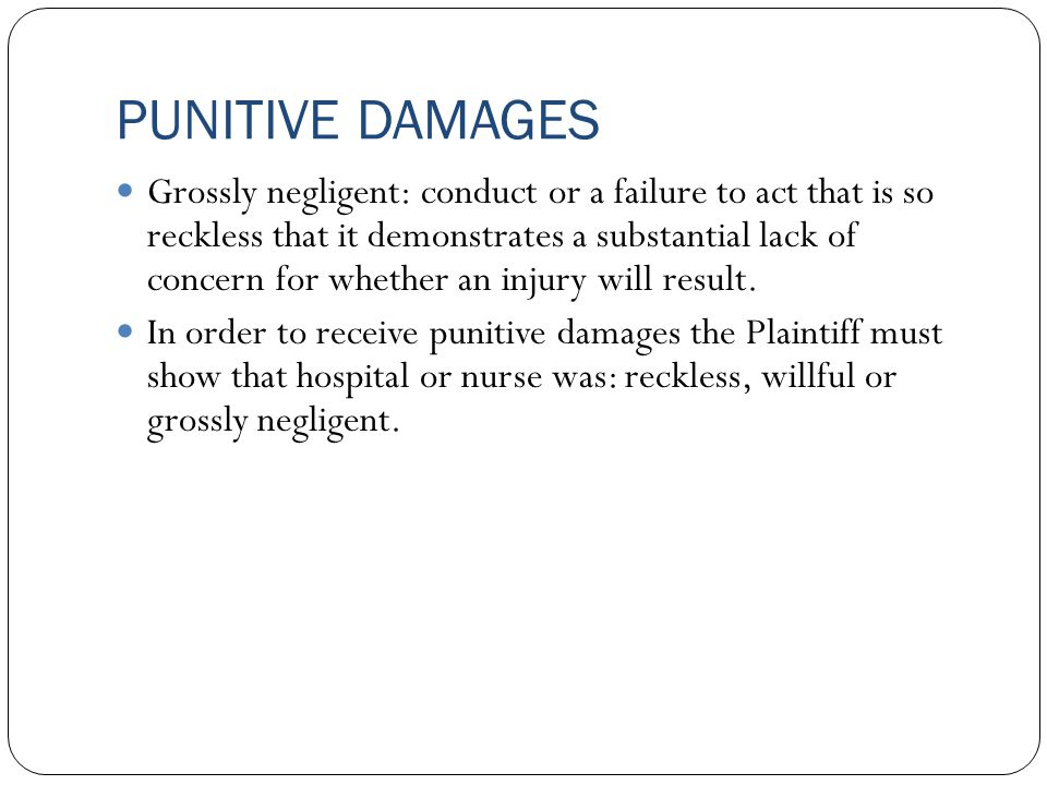 punitive damages 207 punitive damages in the law of contract: the reality and the illusion of legal change timothy j sullivan i introduction punitive damages1 traditionally have been awarded in a vari.