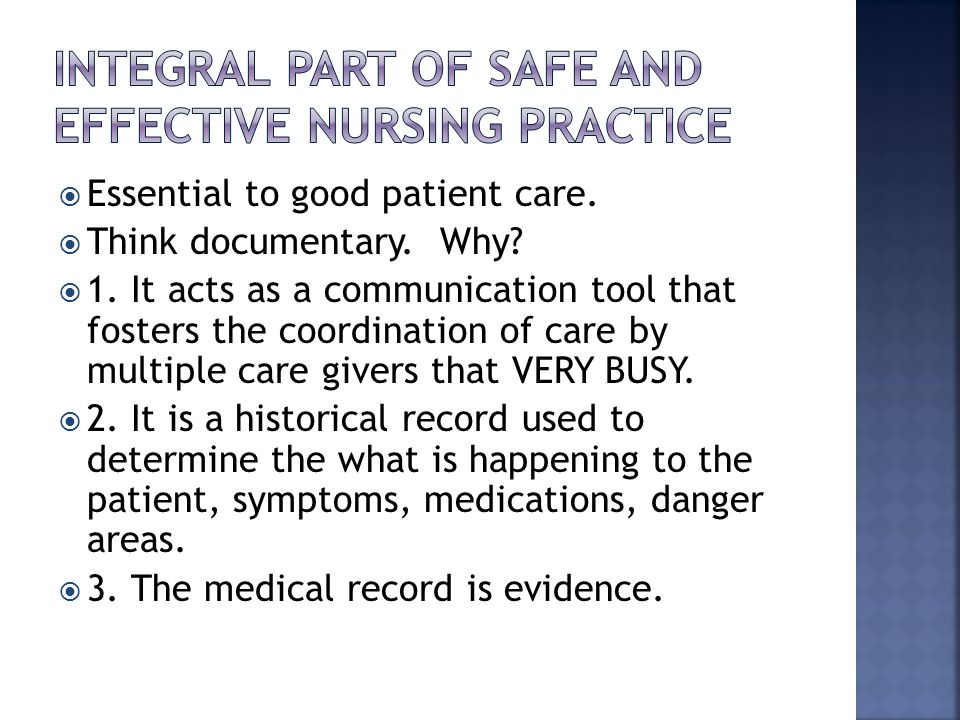 caring as the integral part of nursing Managing the patient journey part one  assessment forms an integral part of patient care and is  nursing care it provides information that is critical to the.