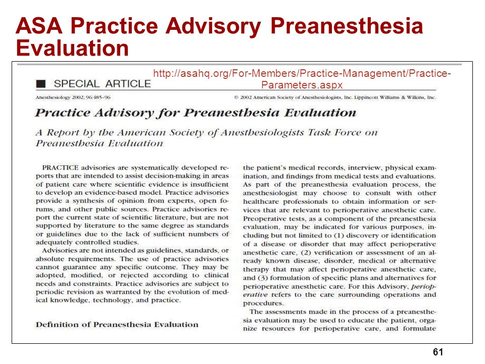 part ppt  asa practice advisory preanesthesia evaluation