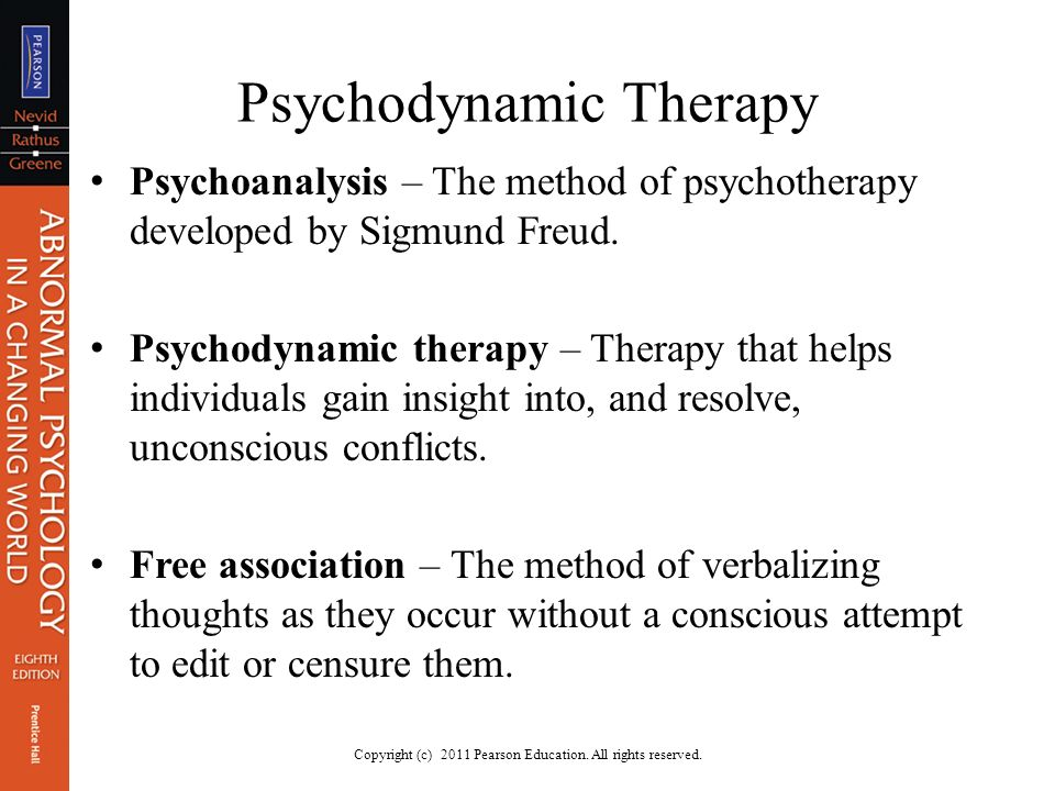 psychoanalytic therapy psychodynamic therapy Psychodynamic therapy: a type of psychotherapy that draws on psychoanalytic  theory to help people understand the roots of emotional distress, often by.