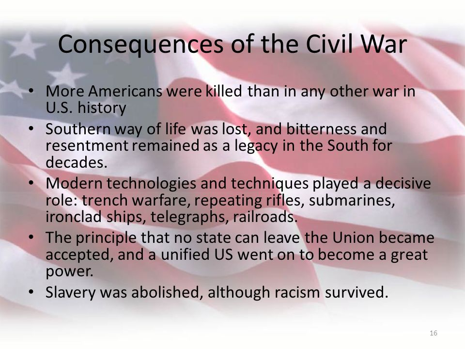 the effects and implications of civil war nursing The economic cost of the american civil war: estimates and implications the effects of the war on industrialization and income distribution have been discussed in a.