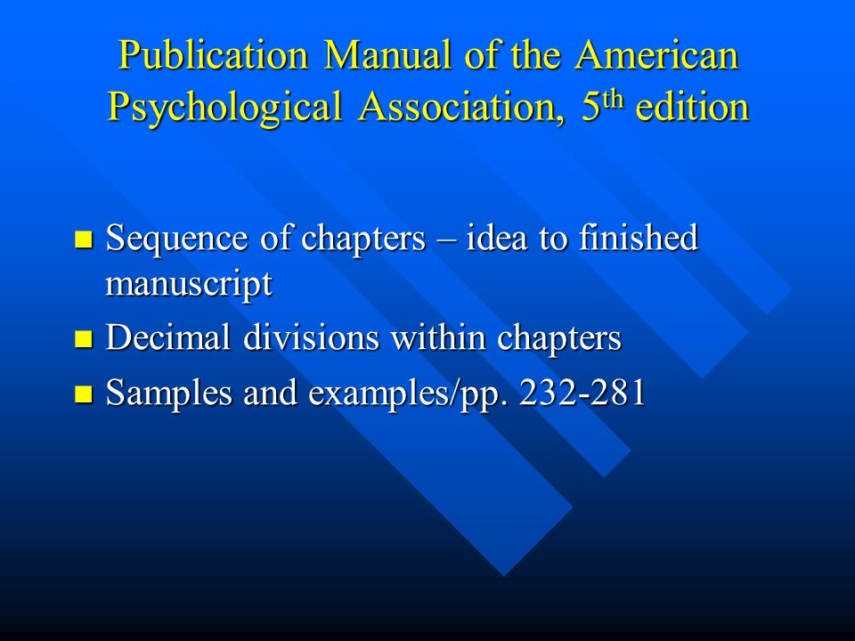 an analysis of the publication manual of the american psychological association Publication manual 6 1  references included in a meta-analysis  publication manual of the american psychological association  the .
