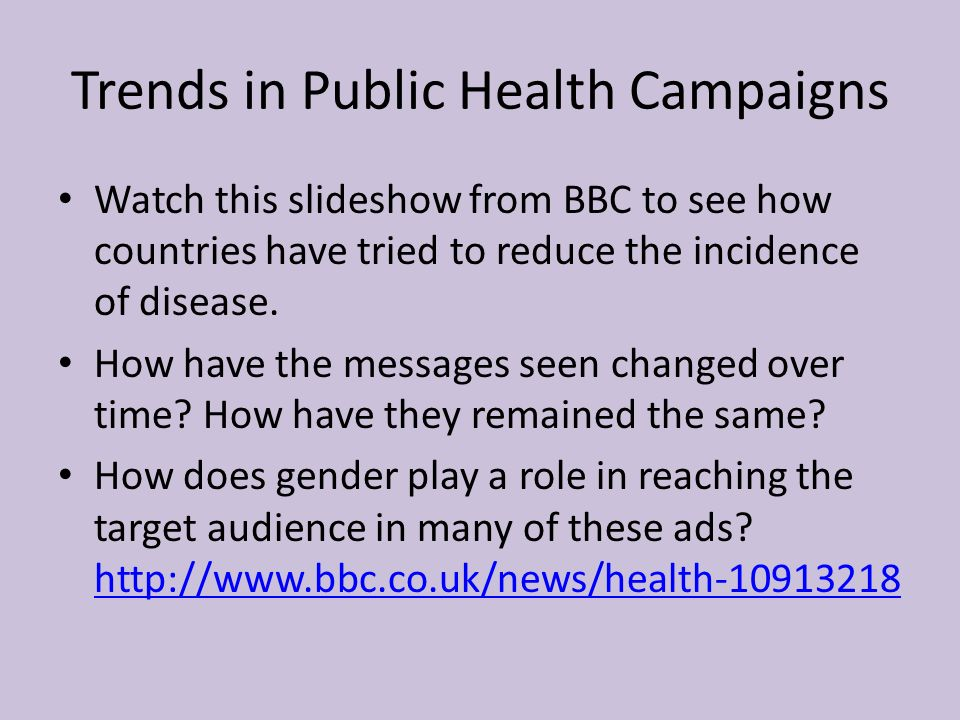 Trends in Public Health Campaigns