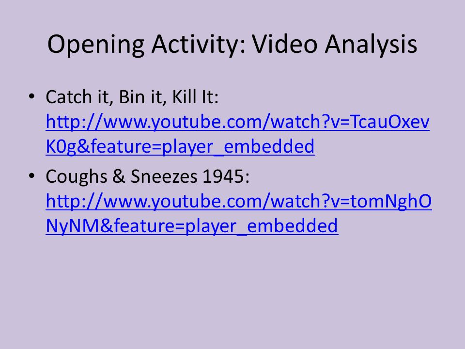 Opening Activity: Video Analysis