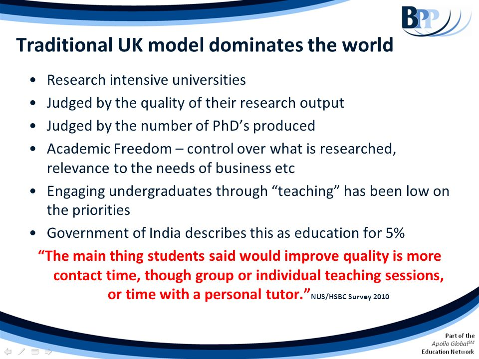 Traditional UK model dominates the world