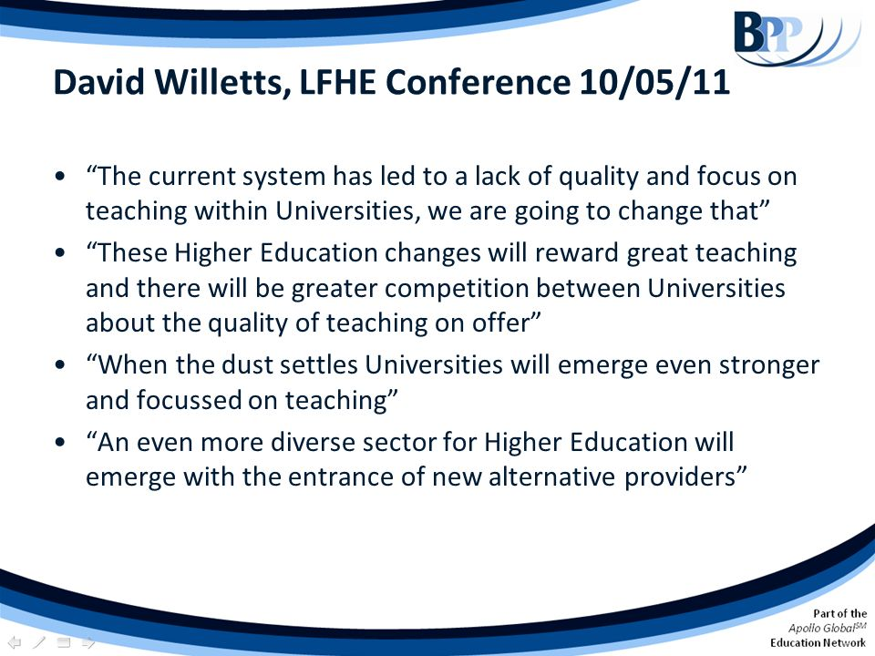 David Willetts, LFHE Conference 10/05/11