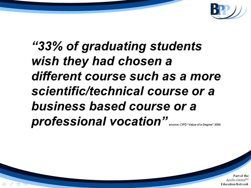33% of graduating students wish they had chosen a different course such as a more scientific/technical course or a business based course or a professional vocation source: CIPD Value of a Degree 2006