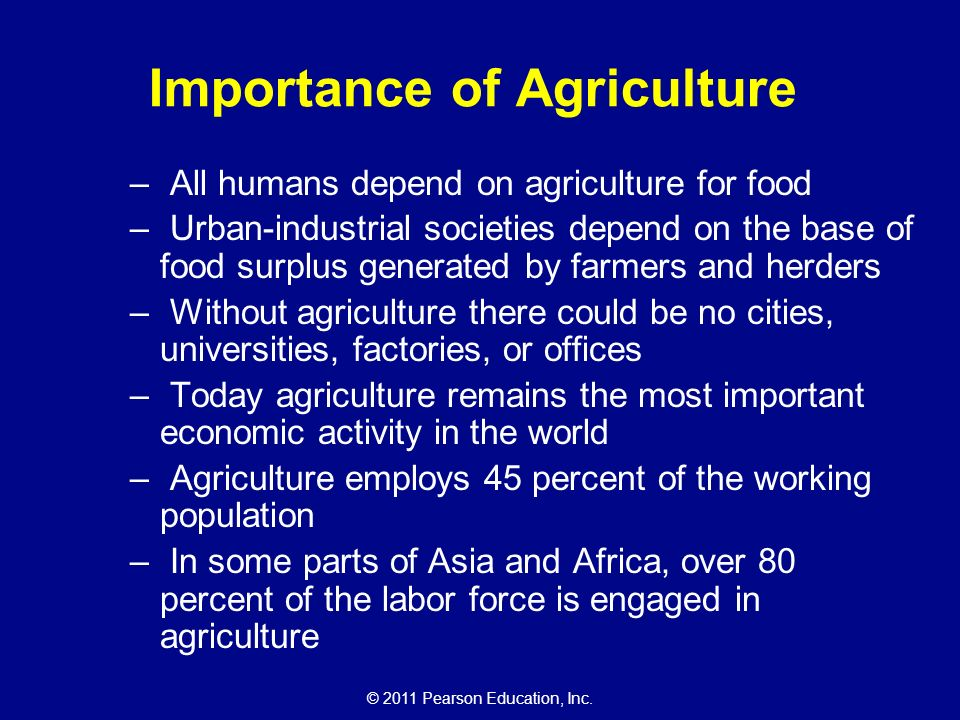Why is agriculture important in the world of today