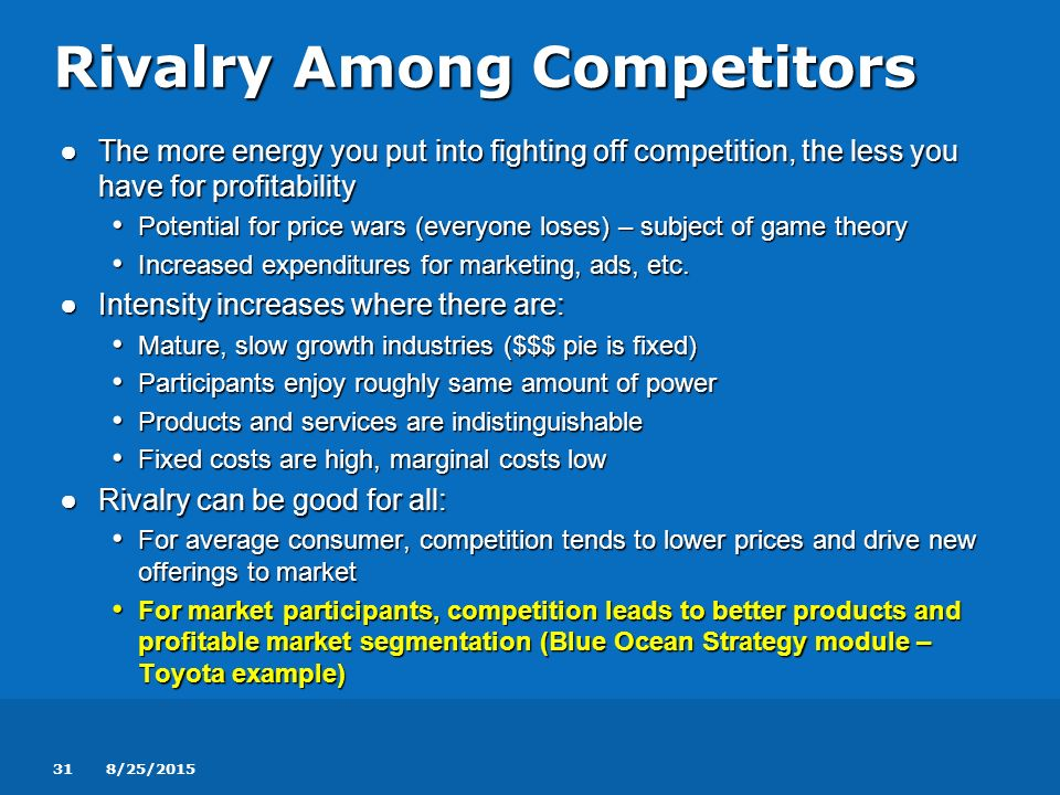 the intensity rivalry among competitors marketing essay How competitive forces shape strategy  marketing, and service are  rivalry among existing competitors takes the familiar form of jockeying for position—using.