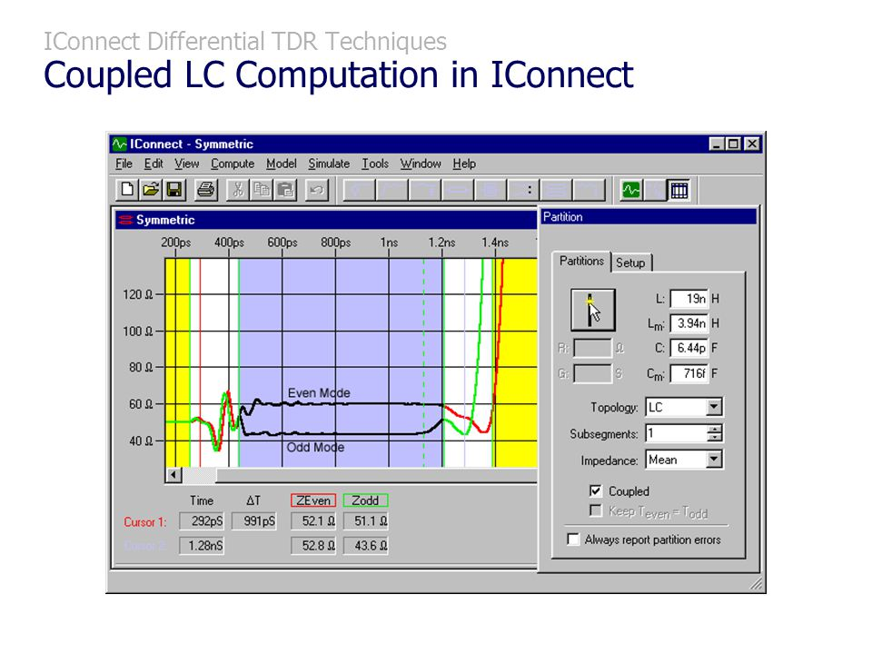 IConnect Differential TDR Techniques Coupled LC Computation in IConnect