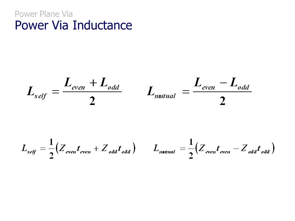 Power Plane Via Power Via Inductance