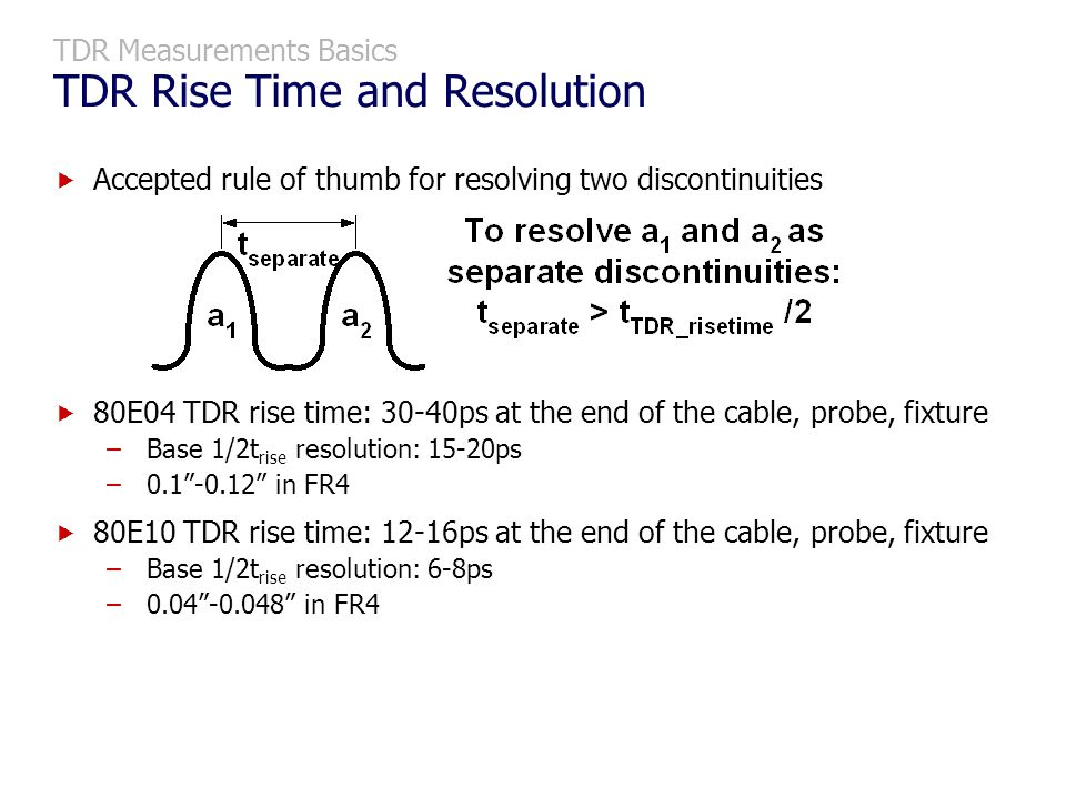 TDR Measurements Basics TDR Rise Time and Resolution