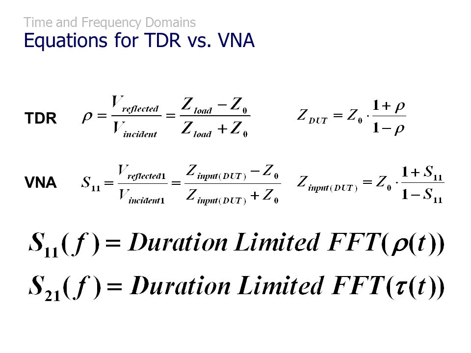 Time and Frequency Domains Equations for TDR vs. VNA