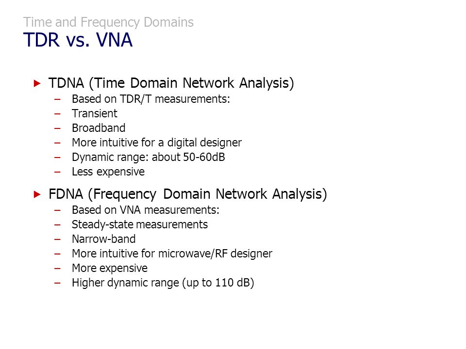 Time and Frequency Domains TDR vs. VNA