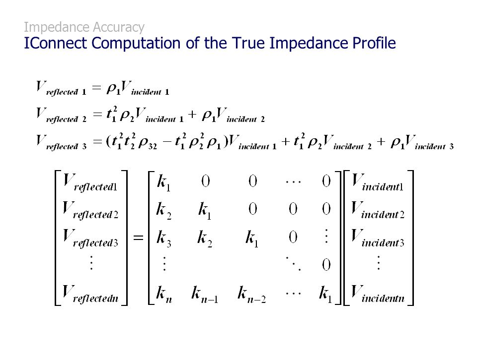 Impedance Accuracy IConnect Computation of the True Impedance Profile