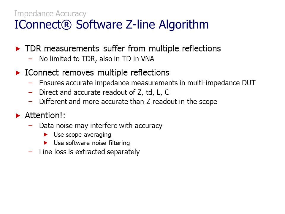 Impedance Accuracy IConnect® Software Z-line Algorithm