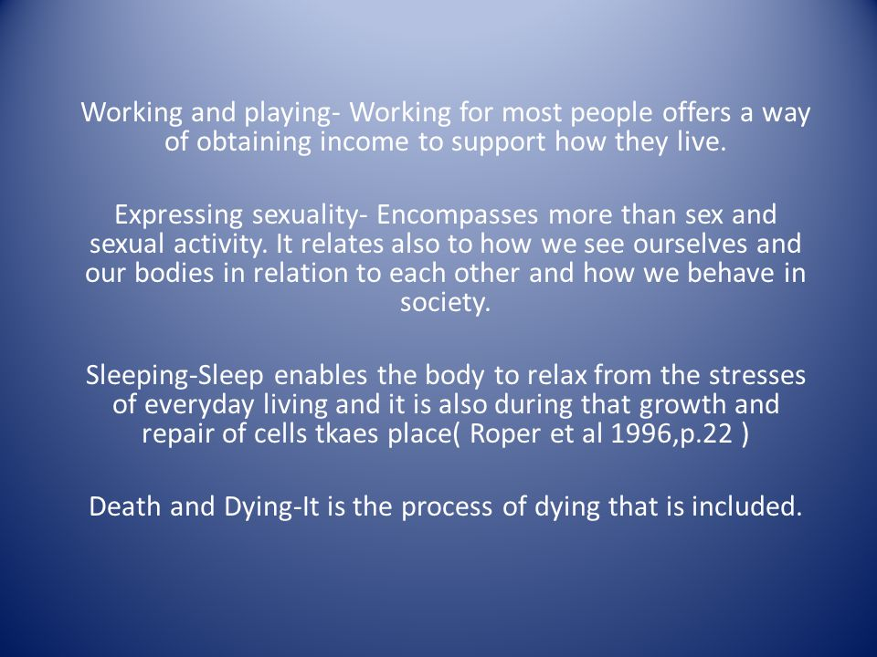 sex and the dying process