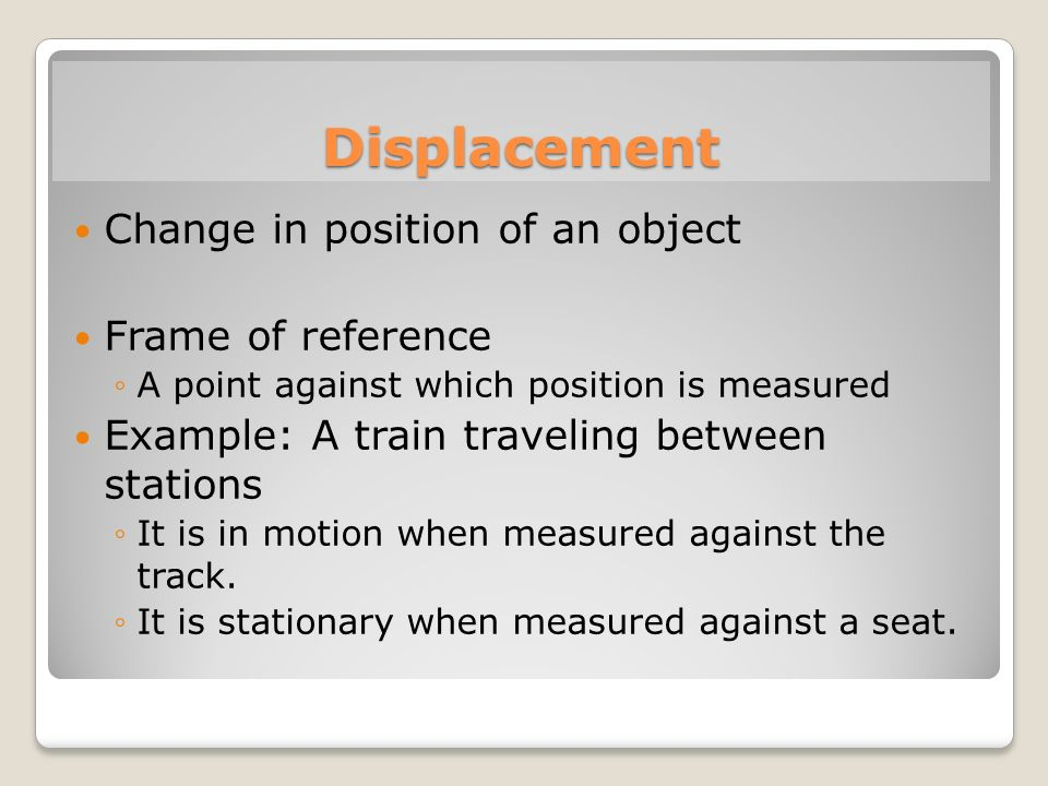 Displacement Change in position of an object Frame of reference