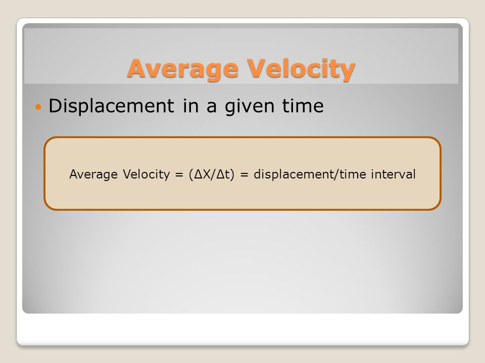 Average Velocity = (ΔX/Δt) = displacement/time interval