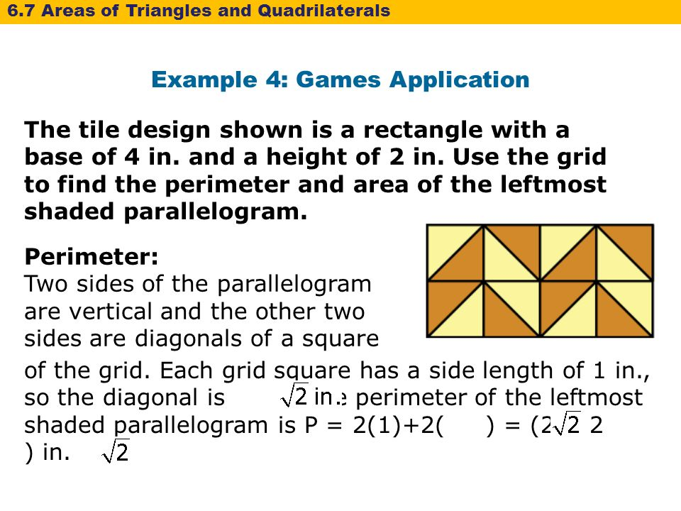 6 7 area of triangles and quadrilaterals warm up lesson example 4 games application ccuart Images