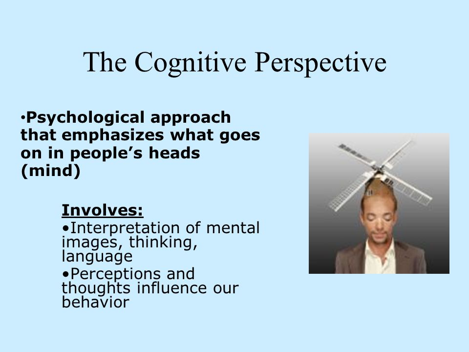 the rise of the cognitive perspective Cognitive psychology is the study of mental processes such as attention, language use, memory, perception, problem solving, creativity, and thinking.