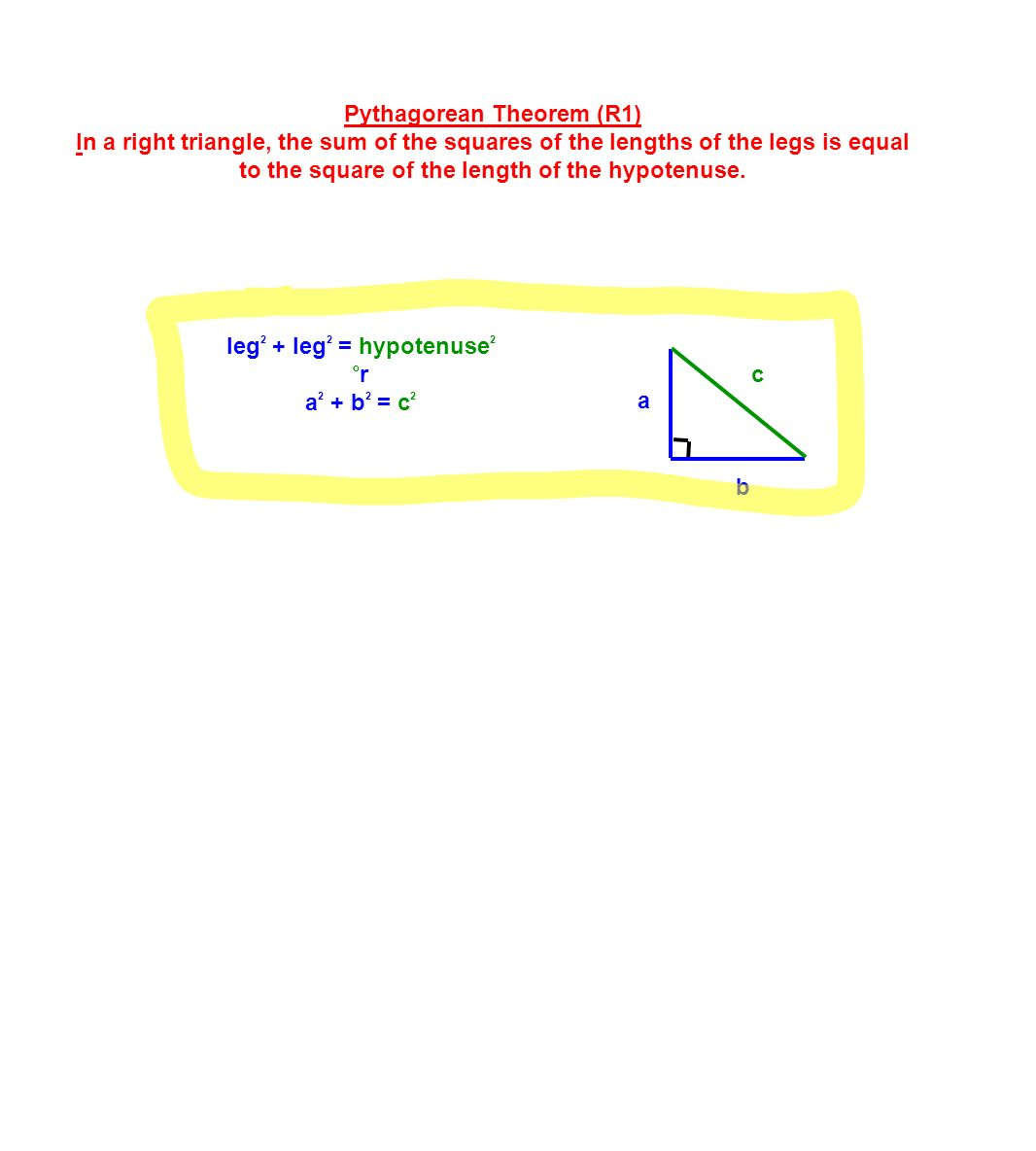 How To Find The Legs 5 Pythagorean Practice: Tell Whether A Triangle  With The Given Side Lengths Is A Right