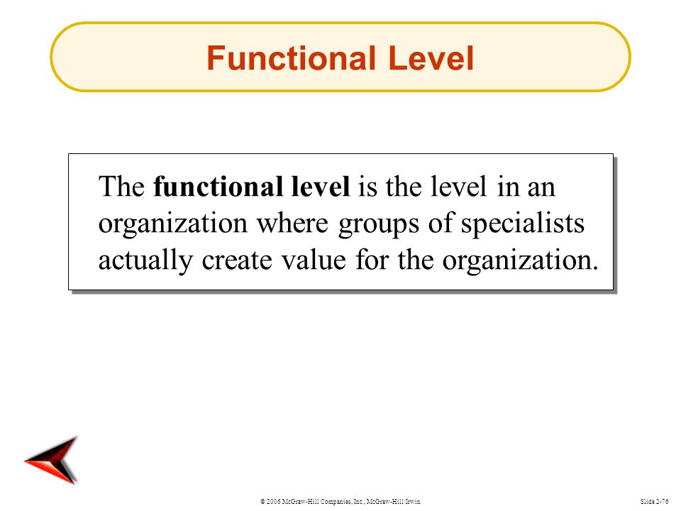 Functional Level The functional level is the level in an organization where groups of specialists actually create value for the organization.