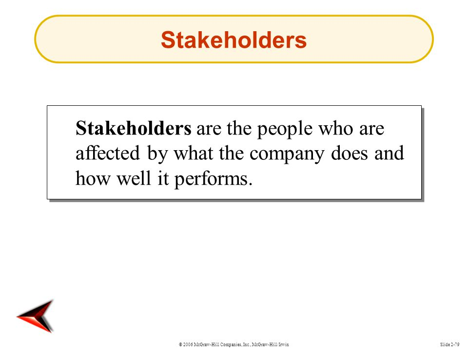 Stakeholders Stakeholders are the people who are affected by what the company does and how well it performs.