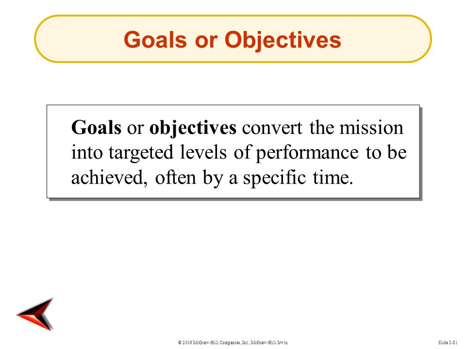 Goals or Objectives Goals or objectives convert the mission into targeted levels of performance to be achieved, often by a specific time.