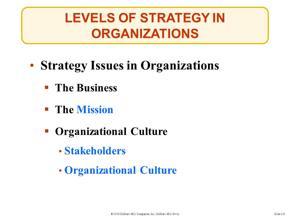 LEVELS OF STRATEGY IN ORGANIZATIONS