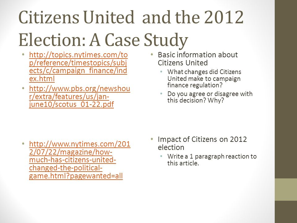 citizens united case Case opinion for us supreme court citizens united v federal election  commission read the court's full decision on findlaw.