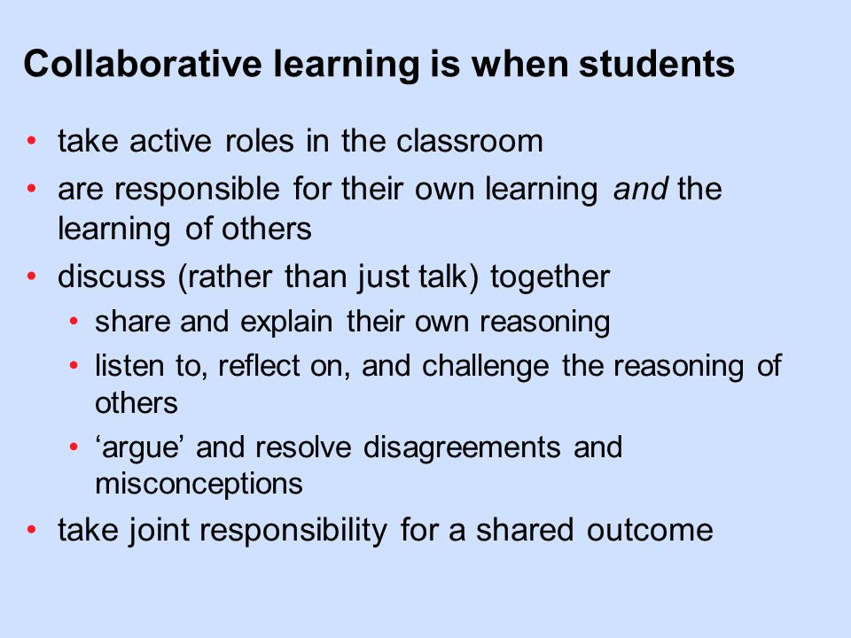 Collaborative Teaching Definition ~ Outline what is collaborative learning ppt video online