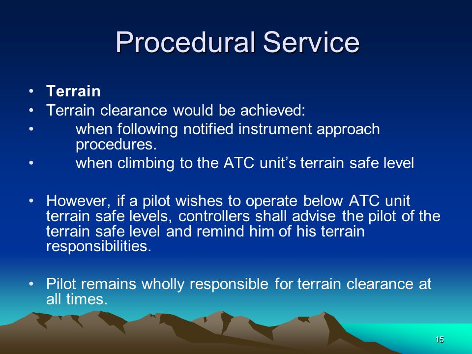 Terrain clearance would be achieved: