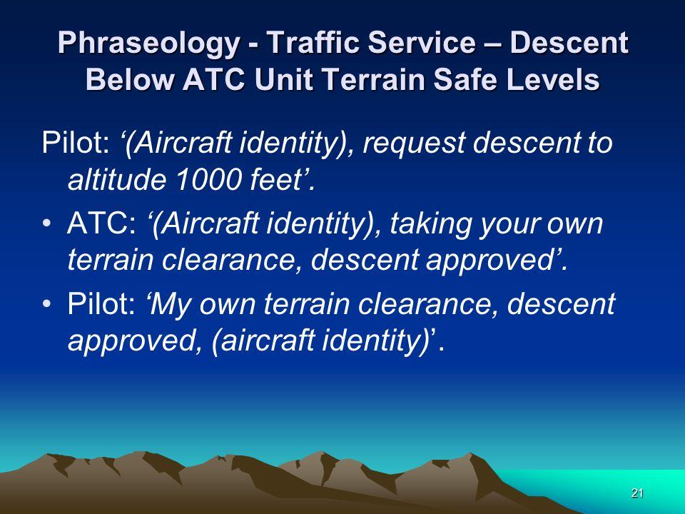 Phraseology - Traffic Service – Descent Below ATC Unit Terrain Safe Levels