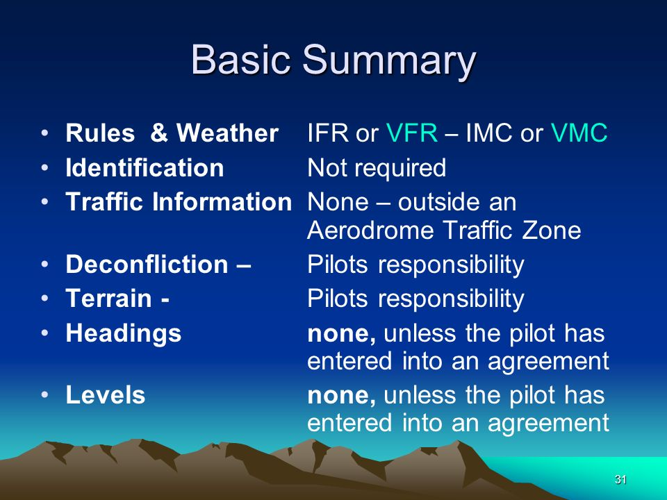 Basic Summary Rules & Weather IFR or VFR – IMC or VMC