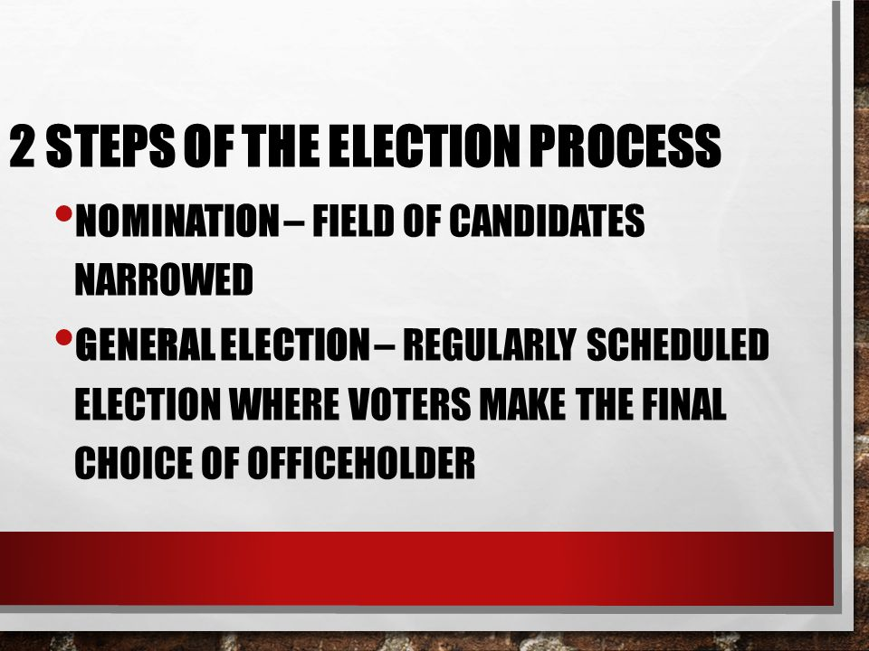 2 Steps of the Election Process
