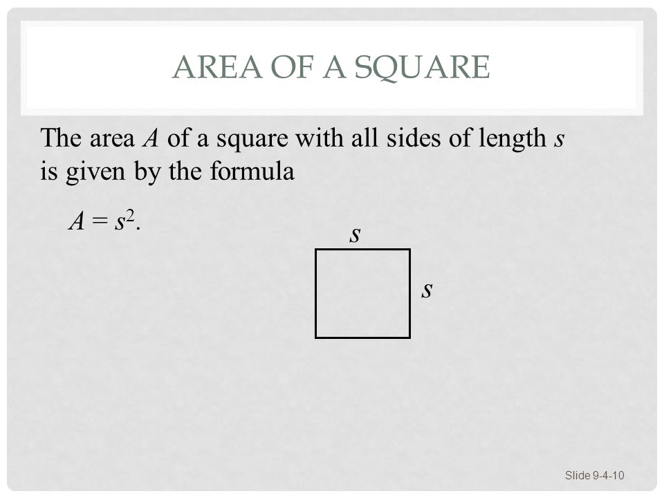 Area of a Square The area A of a square with all sides of length s is given by the formula. A = s2.