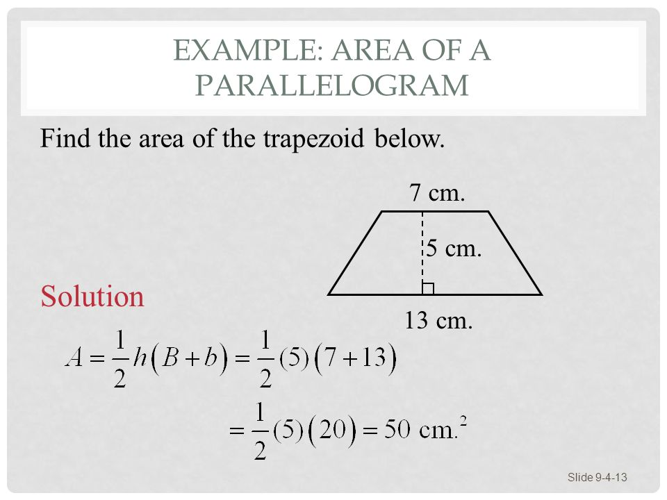 Example: Area of a Parallelogram