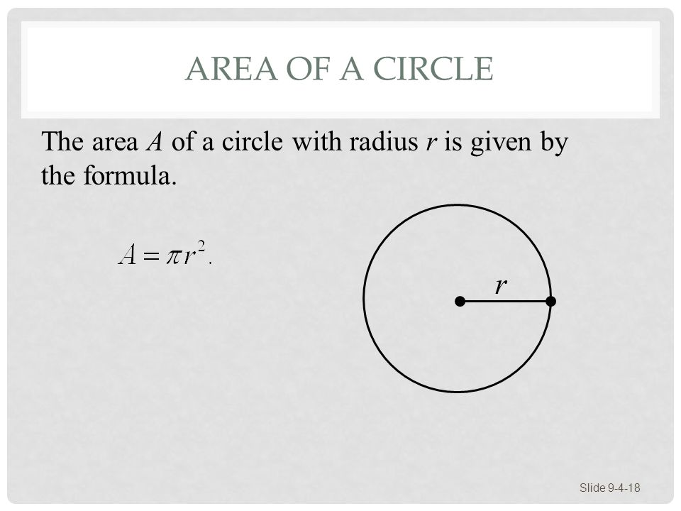Area of a Circle The area A of a circle with radius r is given by the formula. r