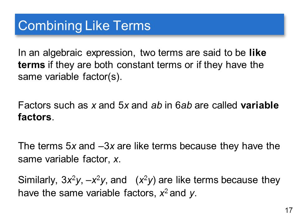Fundamentals of algebra ppt video online download combining like terms ccuart Gallery