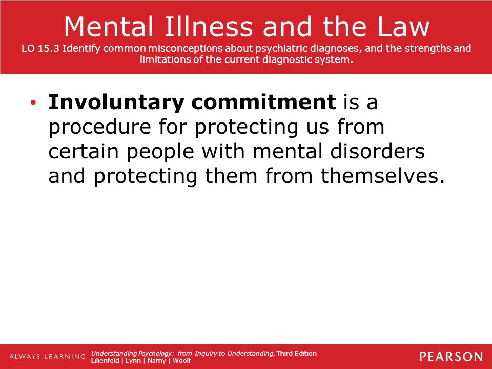 mental illness and the canadian law Canadian law has both licensing and registration requirements for the  possession  has been treated for a mental illness, whether in a hospital, mental  institute,.