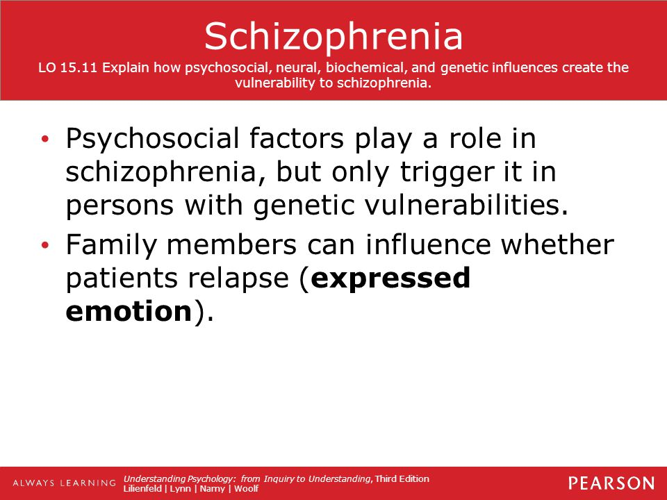 psychosocial examinination in schizophrenia Psychosocial examinination in schizophrenia running head: psychosocial examinination in schizophrenia david helfgott: a psychosocial examinination in schizophrenia abstract this research paper examines the cinematic biographical adaptation of musical child prodigy david helfgott.