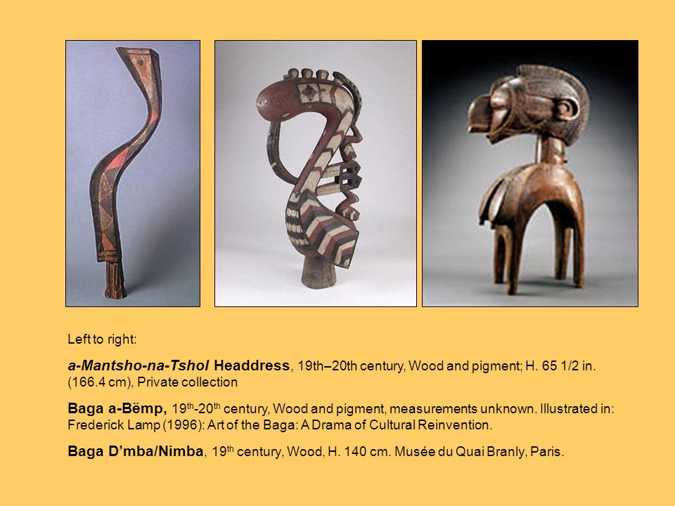 Baga culture, as represented by art objects in Western museums, spans several hundred years. It is particularly famous for its masks and headdresses. Here a few examples.