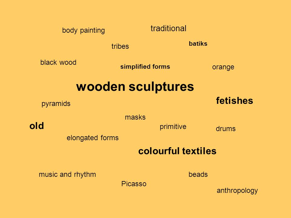 wooden sculptures fetishes old colourful textiles traditional