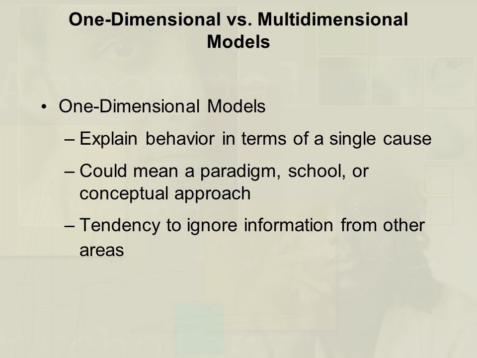 One-Dimensional vs. Multidimensional Models