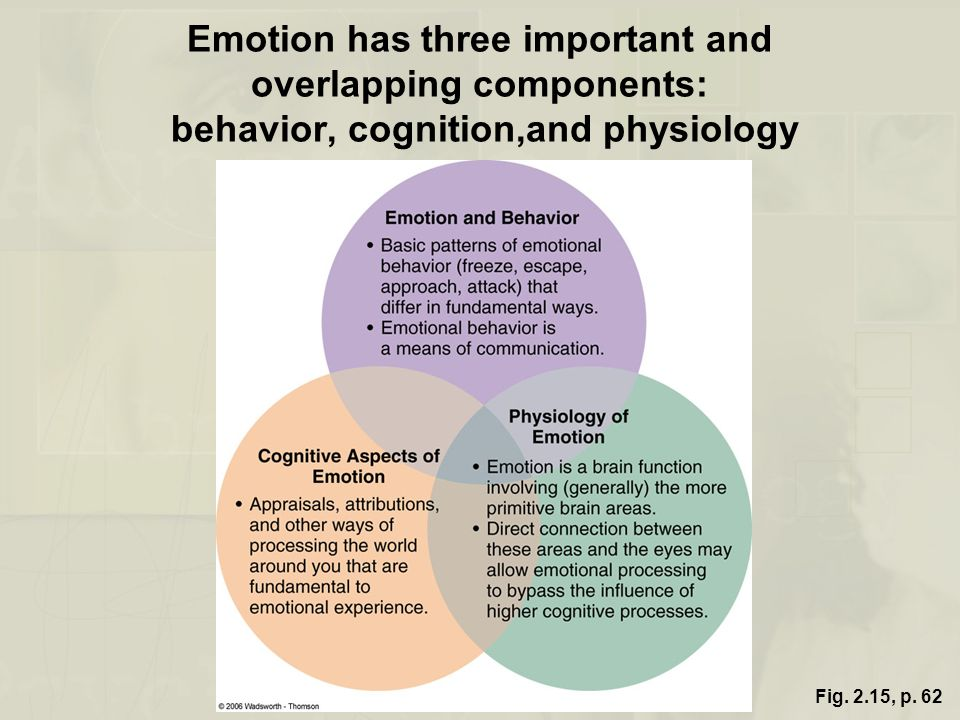 Emotion has three important and overlapping components: behavior, cognition,and physiology