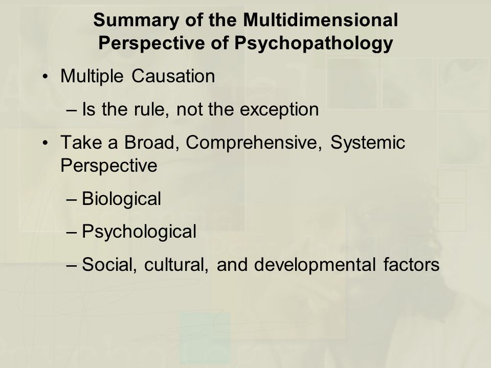 Summary of the Multidimensional Perspective of Psychopathology