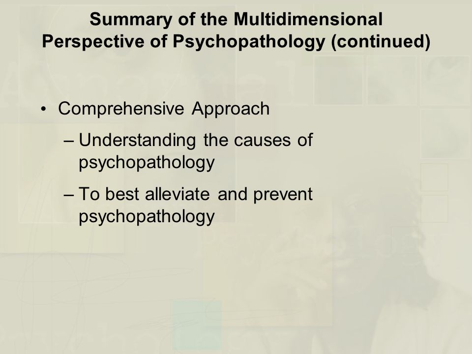 Summary of the Multidimensional Perspective of Psychopathology (continued)