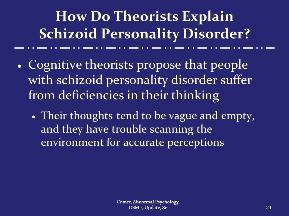 the schizoid personality disorder Personality disorders, such as avoidant personality disorder and schizoid personality disorder, affect patients' functioning and relationships avoidant and schizoid personality disorders share some similar features, but their symptoms differ greatly in certain ways.