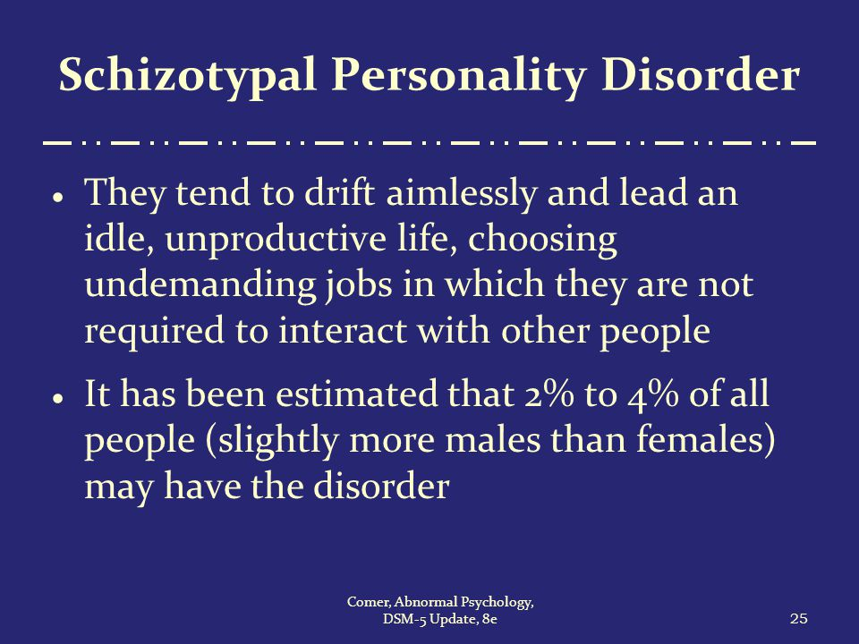 schizotypal personality disorder did paper The international personality disorders examination  the international personality  10 does not consider schizotypal disorder to be a true personality.